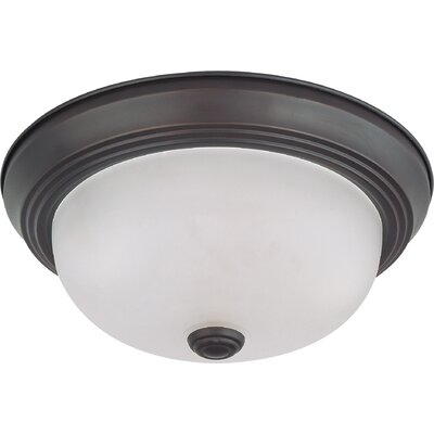 Toulon 2-Light LED Flush Mount Finish: Mahogany Bronze, Size: 4.88 H x 11.38 W x 11.38  D