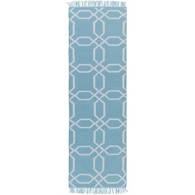 Larksville Hand-Woven Blue Outdoor Area Rug Rug Size: Runner 26 x 8