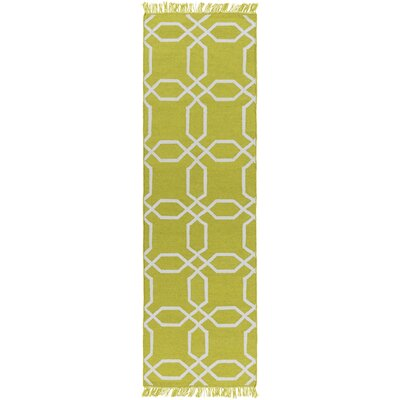 Larksville Hand-Woven Green Outdoor Area Rug Rug Size: Runner 26 x 8