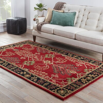 Trinningham Red/Black Arts and Craft Rug Rug Size: 5 x 8