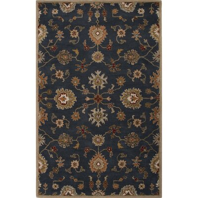 Trinningham Blue/Orange Oriental Area Rug Rug Size: 36 x 56