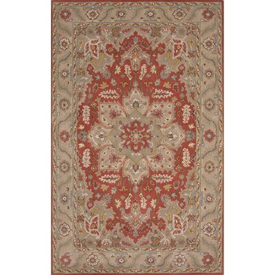Trinningham Wool Hand Tufted Red/Taupe Area Rug Rug Size: Rectangle 9 x 12