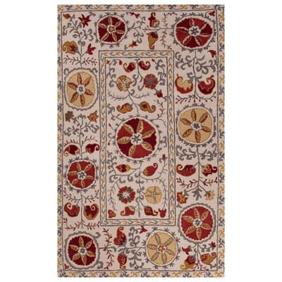Trinningham Hand-Tufted Ivory/Red Area Rug Rug Size: 2 x 3