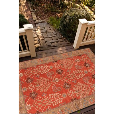 Trinningham Hand-Tufted Orange/Brown Area Rug Rug Size: Round 10