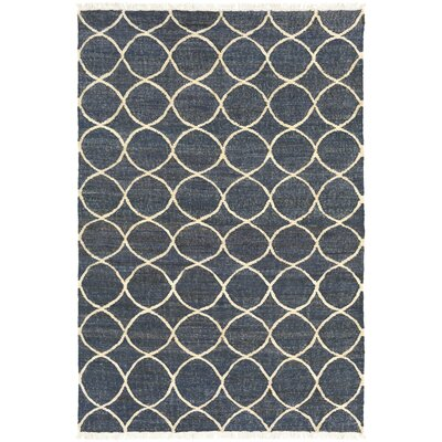 Ashley Hand-Woven Neutral/Blue Area Rug Rug Size: Rectangle 6 x 9