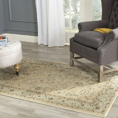 Lavelle Ivory/Grey Area Rug Rug Size: Rectangle 53 x 76