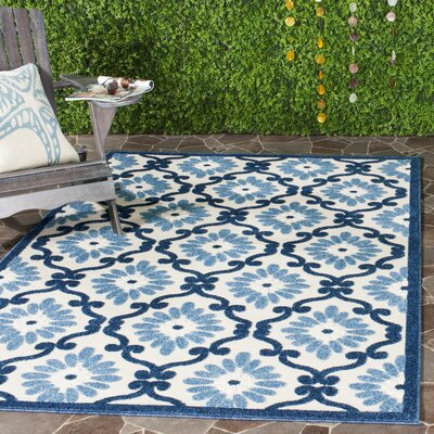 Bryan Ivory/Blue Area Rug Rug Size: Rectangle 33 x 53