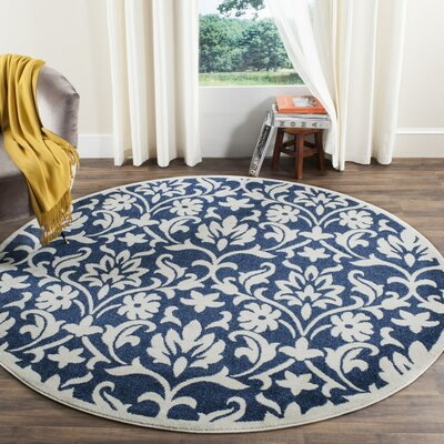 Carman Navy/Ivory Indoor/Outdoor Area Rug Rug Size: Round 7