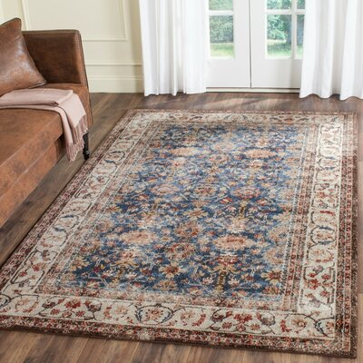 Broomhedge Royal/Ivory Area Rug Rug Size: Rectangle 3 x 5