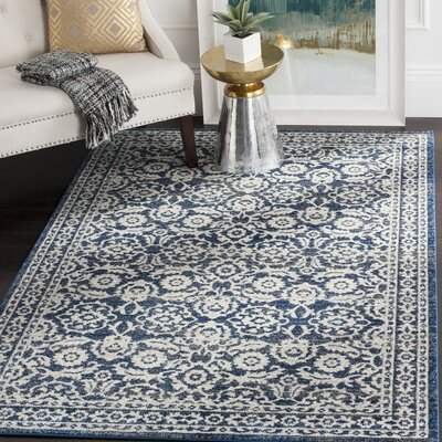 Pike Royal/Ivory Area Rug Rug Size: Runner 22 x 11