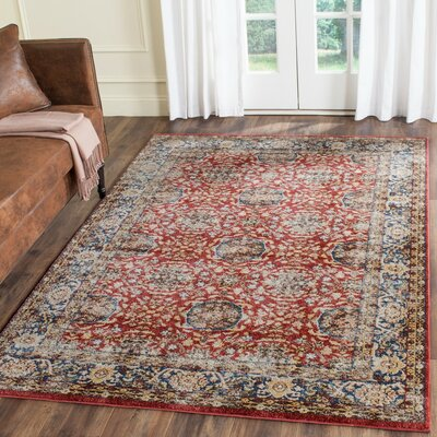Broomhedge Red/Royal Area Rug Rug Size: Rectangle 4 x 6