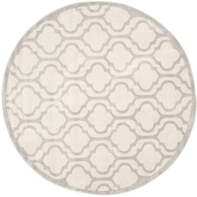 Carman Ivory/Light Gray Indoor/Outdoor Area Rug Rug Size: Round 7