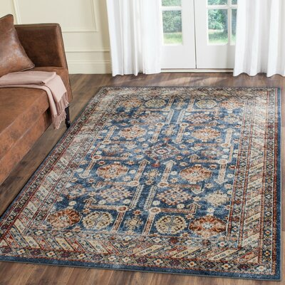Broomhedge Royal/Ivory Area Rug Rug Size: 4 x 6