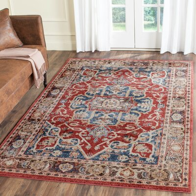 Broomhedge Red/Royal Area Rug Rug Size: 3 x 5