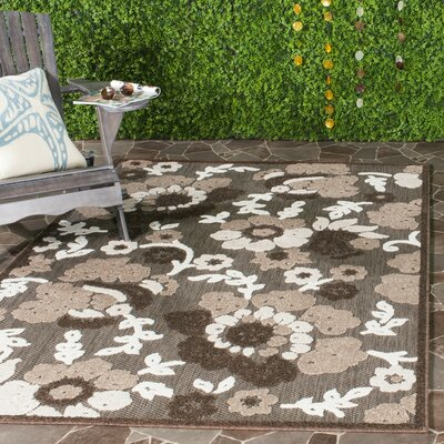 Bryan Light Brown/Brown Indoor/Outdoor Area Rug Rug Size: Rectangle 53 x 77