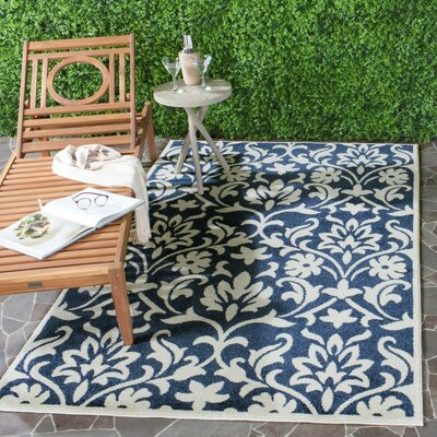 Carman Navy/Ivory Indoor/Outdoor Area Rug Rug Size: Rectangle 6' x 9'