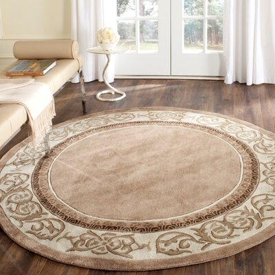 Palmnue Hand Hooked Area Rug Rug Size: Round 6