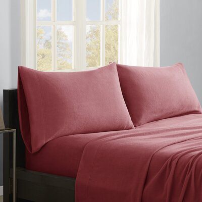 Butlerville 4 Piece Micro Fleece Sheet Set Color: Red, Size: Cal King