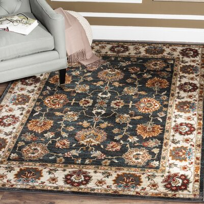 Lowe Dark Grey/Ivory  Area Rug Rug Size: Rectangle 4 x 6