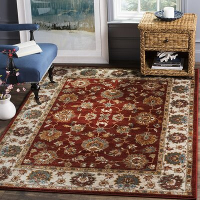 Lowe Red/Beige Area Rug Rug Size: Square 4