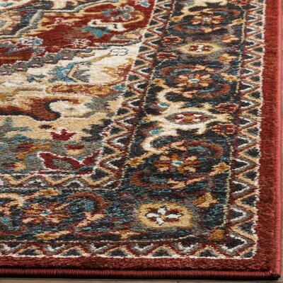 Lowe Red/Beige Area Rug Rug Size: Square 67