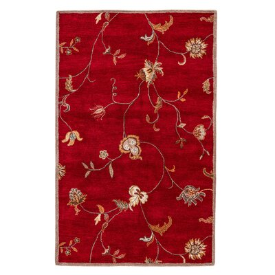 Trinningham Hand-Tufted Red Area Rug Rug Size: Rectangle 36 x 56