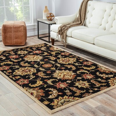 Thornhill Black/Tan Area Rug Rug Size: Round 8 x 8