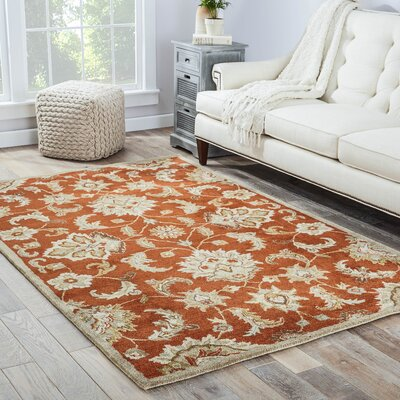 Thornhill Red & Gray Area Rug Rug Size: Oval 8 x 10