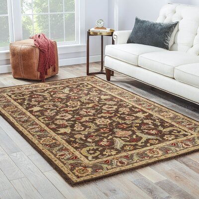 Trinningham Hand-Woven Wool Tan/Dark Brown/Ruby Area Rug Rug Size: Rectangle 36 x 56