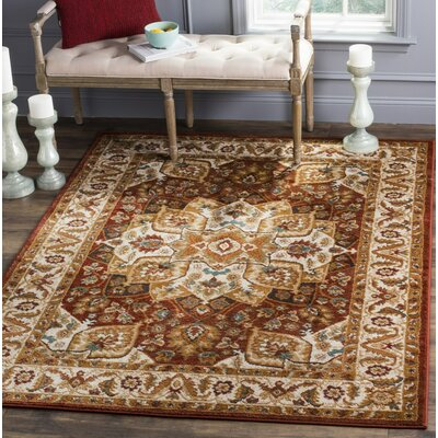 Lowe Red/Beige Area Rug Rug Size: Rectangle 9 x 12