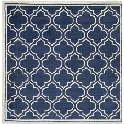 Carman Blue/Beige Indoor/Outdoor Area Rug Rug Size: Square 7