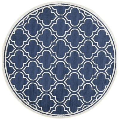 Carman Blue/Beige Indoor/Outdoor Area Rug Rug Size: Round 7