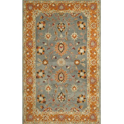 Cranmore Hand-Tufted Gray/Orange Area Rug Rug Size: Round 6