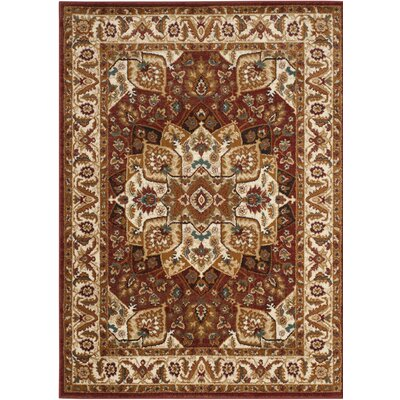 Lowe Red/Ivory Area Rug Rug Size: Rectangle 5'1
