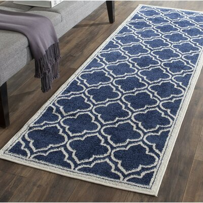 Carman Blue/Beige Indoor/Outdoor Area Rug Rug Size: Runner 23 x 7