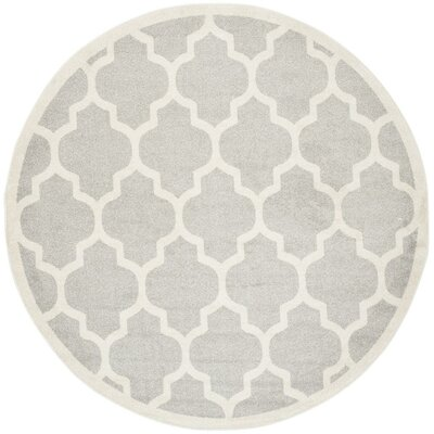 Carman Gray/Beige Indoor/Outdoor Area Rug Rug Size: Round 7