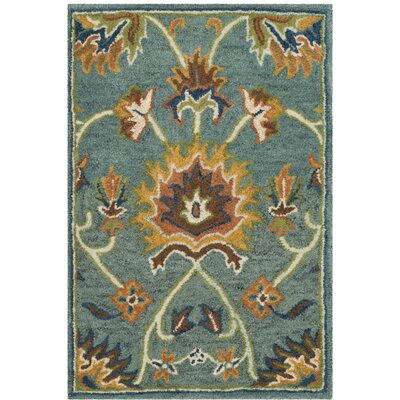 Cranmore Hand-Tufted Light Blue/Yellow Area Rug Rug Size: 2' x 3'