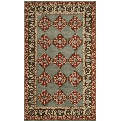 Cranmore Hand-Tufted Gray/Red Area Rug Rug Size: Round 6'