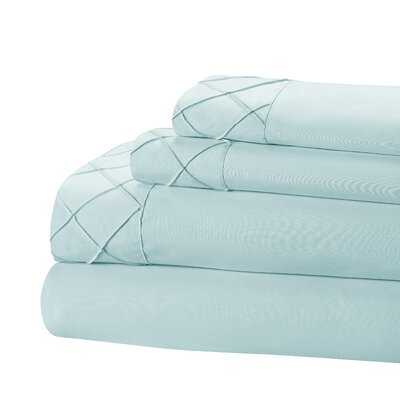 Riverview 4 Piece Sheet Set Size: King, Color: Aqua