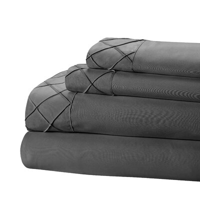 Riverview 4 Piece Sheet Set Size: King, Color: Dark Gray