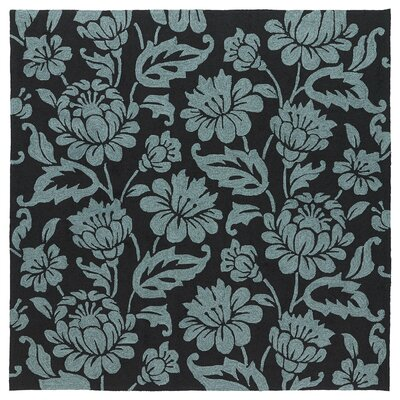 Glenn Hand-Tufted Floral Black Indoor/Outdoor Area Rug Rug Size: 9 x 12