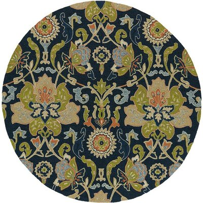 Manning Hand-Tufted Navy Indoor/Outdoor Area Rug Rug Size: Round 79