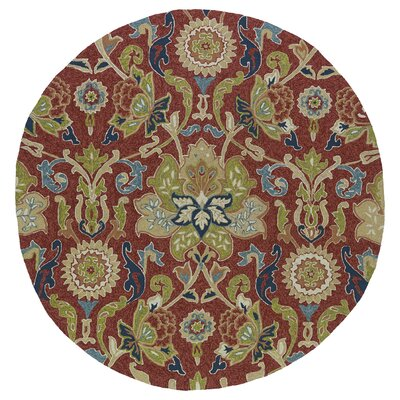 Manning Floral And Plants Red Indoor/Outdoor Area Rug Rug Size: Round 59
