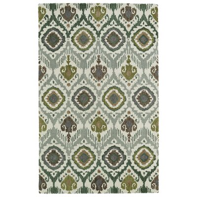 Anns Green/Grey Area Rug Rug Size: 36 x 56
