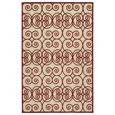 Covedale Machine Woven Red/Cream Indoor/Outdoor Area Rug Rug Size: Rectangle 88 x 12