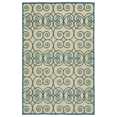 Covedale Machine Woven Blue/Cream Indoor/Outdoor Area Rug Rug Size: Rectangle 5 x 76