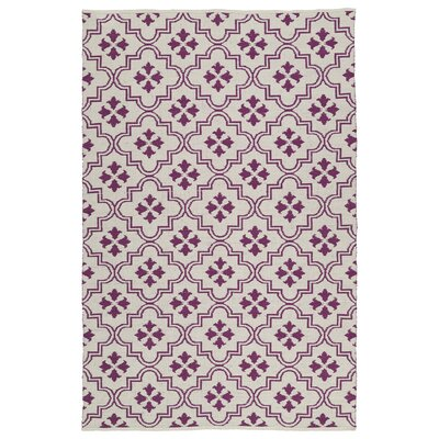 Covington Cream/Purple Indoor/Outdoor Area Rug Rug Size: Rectangle 5 x 76