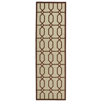 Covedale Terracotta & Cream Indoor/Outdoor Area Rug Rug Size: Runner 26 x 71