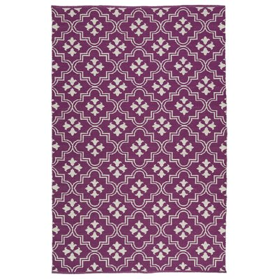 Covington Purple/Cream Indoor/Outdoor Area Rug Rug Size: Rectangle 5 x 76