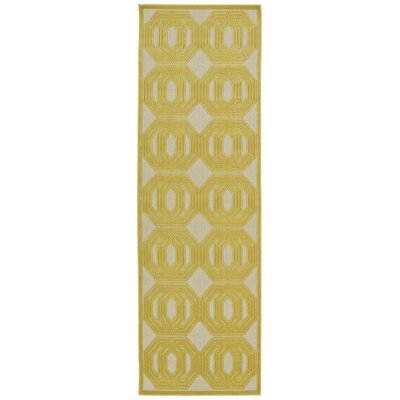 Covedale Gold & Cream Indoor/Outdoor Area Rug Rug Size: Runner 26 x 71